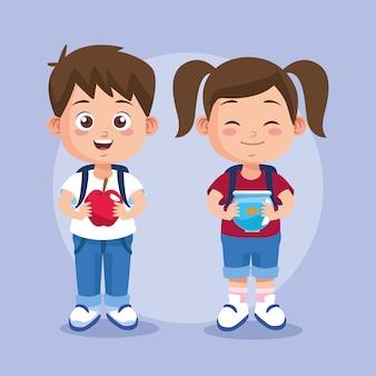 Gelukkige lerarendagscène met studentenpaar.