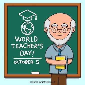 Gelukkige leraresdag, hoogleraar met een schoolbord