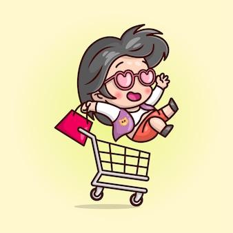 Gelukkige leuke vrouw brengt een winkeltas en berijd een winkelwagentje cartoon illustratie.