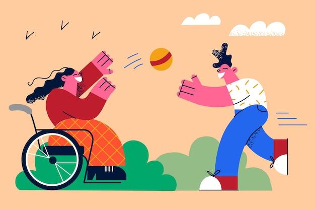 Gelukkige levensstijl van mensen met een handicap concept