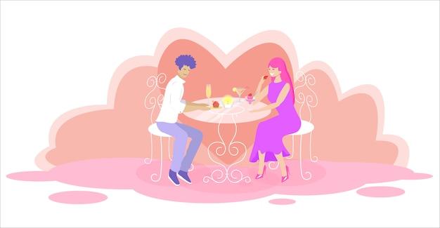 Gelukkige liefdevolle paar dating in restaurant. liefde