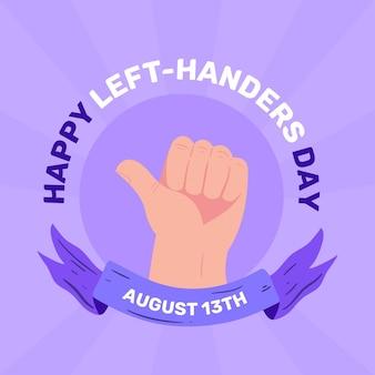 Gelukkige linkshandige dag met duimen omhoog