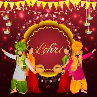 Gelukkige lohri-vieringsgroet, indisch punjabifestival en creatieve illustratie