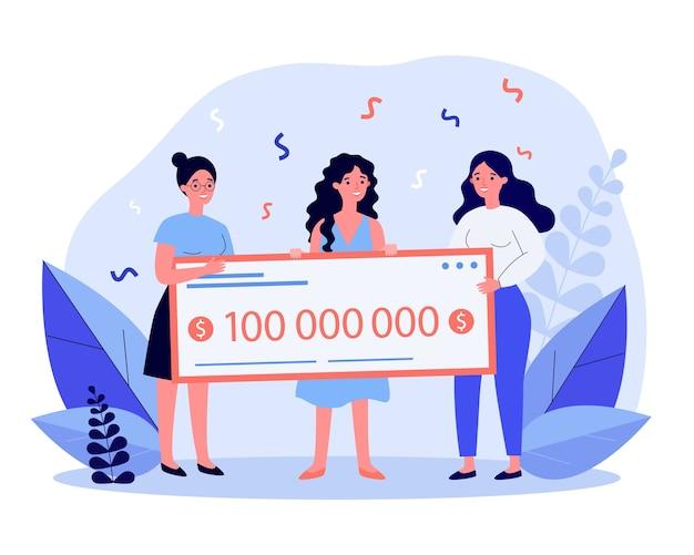 Gelukkige loterijwinnaars met enorme bankcheque