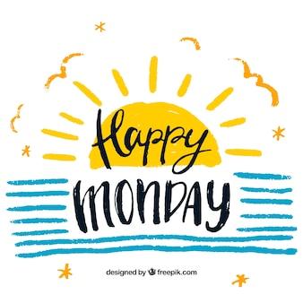 Gelukkige maandag vintage achtergrond met handgeschilderde zon en strepen