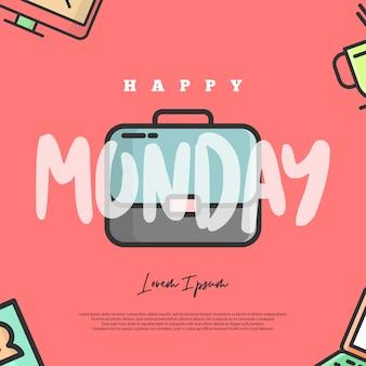Gelukkige maandagillustratie. deze illustratie is bedoeld voor mensen die verdrietig zijn of zelfs een hekel hebben aan maandag, vooral kantoorpersoneel