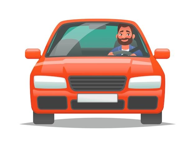 Gelukkige man die een rode auto bestuurt sedan-chauffeur een nieuw voertuig kopen of een reis naar het werk persoonlijk vervoer