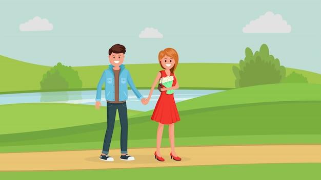Gelukkige man en vrouw in de zomerpark