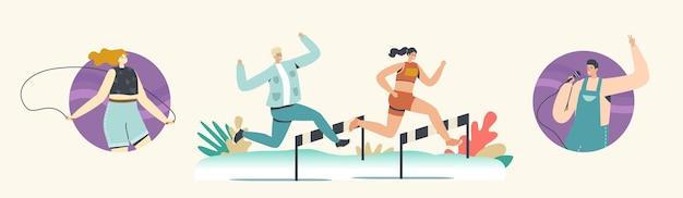 Gelukkige man en vrouw rennen met obstakels op stadion, zingen karaoke en springen met touw. actief leven, sportactiviteit, joggen en sport gezonde levensstijl. cartoon mensen vectorillustratie