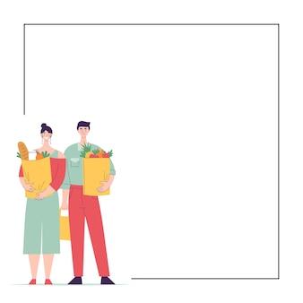 Gelukkige man en vrouw staan op volle hoogte