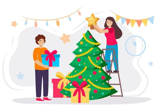 Gelukkige man en vrouw versieren een kerstboom schattige lachende mensen versieren kerstballen en slingers