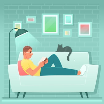 Gelukkige man leest een boek terwijl hij thuis op de bank ligt. guy is een fan van literatuur of een student die zich voorbereidt op examens. vectorillustratie in vlakke stijl