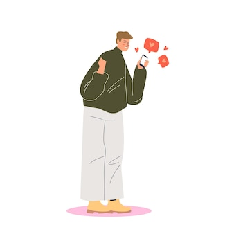 Gelukkige man met smartphone die likes en hartvormen krijgt van posts op sociale media