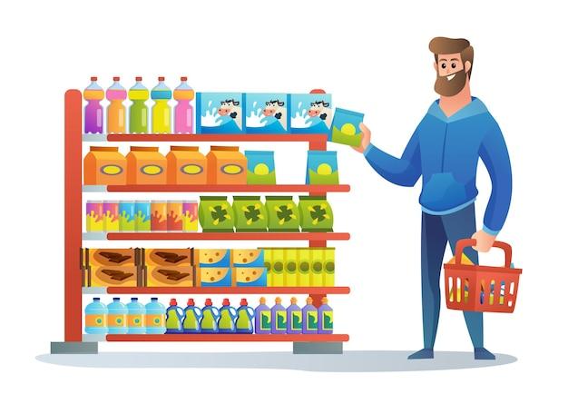 Gelukkige man winkelen bij supermarkt cartoon afbeelding
