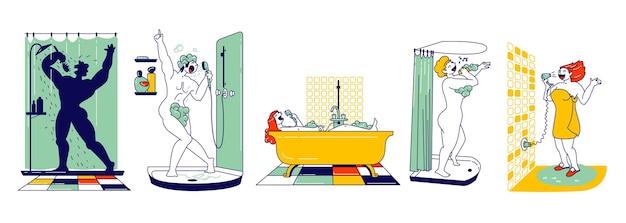 Gelukkige mannelijke en vrouwelijke personages nemen een douche in de badkamer en zingen. mensen wassen en plezier maken. vrouw zitten in bad, haar drogen, man in schuim zingen. hobby en ontspanning. lineaire vectorillustratie