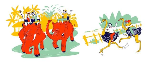 Gelukkige mannelijke en vrouwelijke toeristenkarakters die op olifanten en struisvogels rijden die selfie maken en plezier hebben in exotisch land. zomervakantie, reizen en vakanties. lineaire mensen vectorillustratie