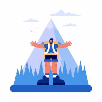 Gelukkige mannelijke ontdekkingsreiziger dichtbij berg en bos