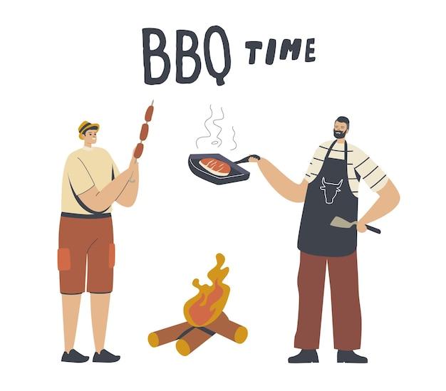 Gelukkige mannelijke personages brengen tijd door op buitenbarbecue