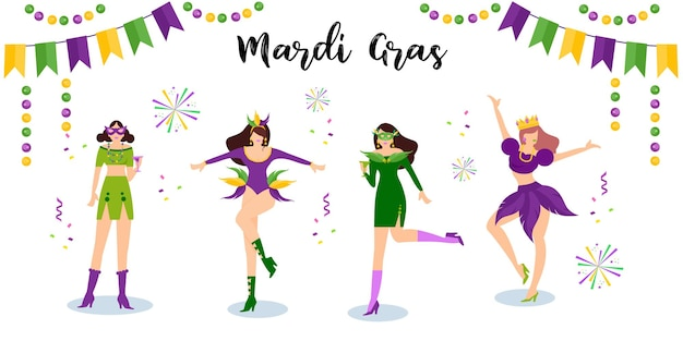 Gelukkige mardi gras carnival-dansers