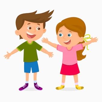 Gelukkige meisje en jongen die elkaar houden