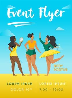 Gelukkige meisjes die de sjabloon van de folder van hun lichaam bewonderen. lichaam positieve vrouwelijke karakters glimlachen elkaar sjabloon folder