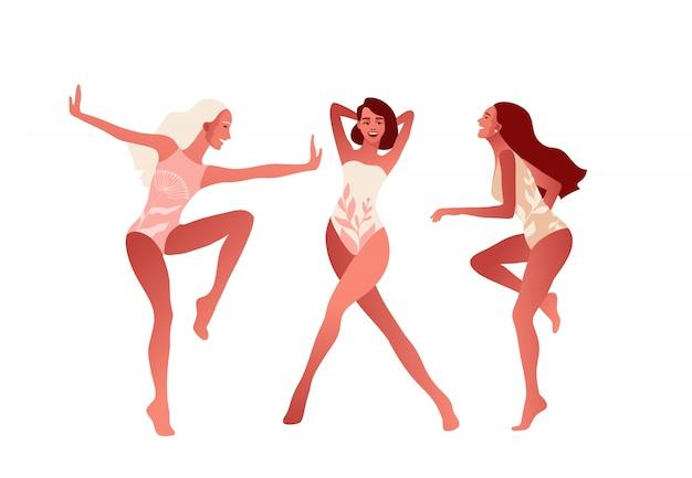 Gelukkige meisjes of vrienden dansen en lachen