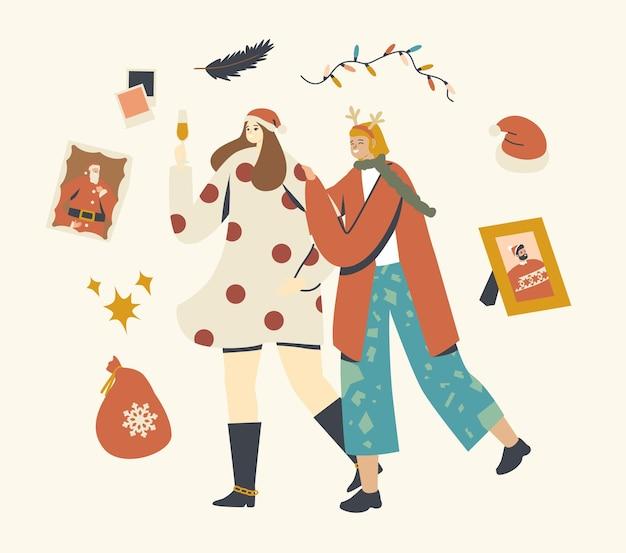 Gelukkige meisjes op kerstfeest