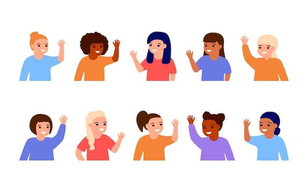 Gelukkige meisjeskinderen die handen zwaaien hallo glimlachende kleine kinderen die welkom of tot ziens begroeten