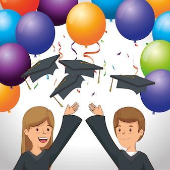 Gelukkige mensen afstuderen met ballonnen en confetti