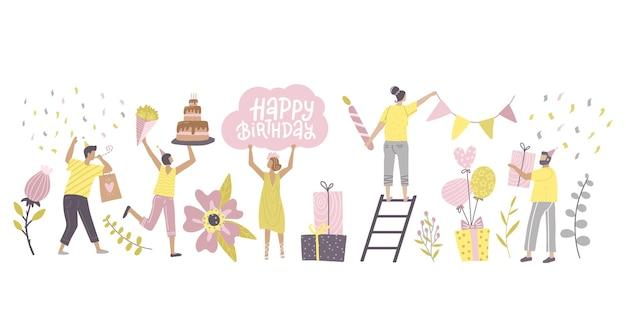 Gelukkige mensen bij de inzameling van de verjaardagsviering kleine mensen
