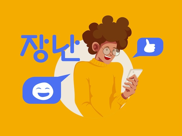 Gelukkige mensen chatten bubble illustratie