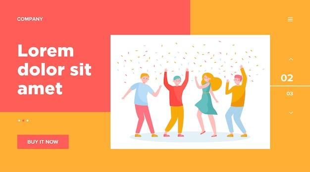 Gelukkige mensen dansen op feestje samen websjabloon. cartoon opgewonden vrienden of collega's vieren met confetti