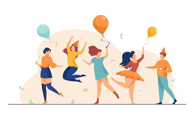Gelukkige mensen dansen op partij vlakke afbeelding