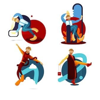 Gelukkige mensen die dansen met diverse dansen van man vlakke illustraties