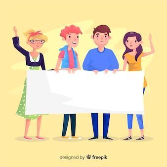Gelukkige mensen die een lege banner houden