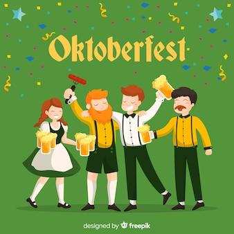 Gelukkige mensen die het meest oktoberfest met vlak ontwerp vieren