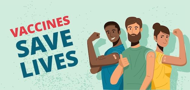 Gelukkige mensen die hun armen laten zien na het ontvangen van covid-19-vaccinatie