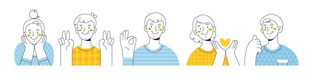 Gelukkige mensen die verschillende positieve emoties tonen met gebaren. overwinningsvingers, ok teken, gebalde vuist, duimen omhoog en hart in de hand. contour illustratie geïsoleerd op een witte achtergrond.