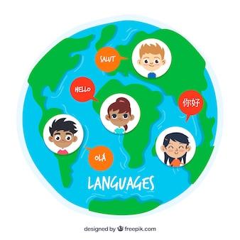Gelukkige mensen die verschillende talen spreken