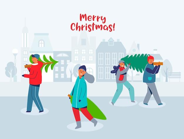 Gelukkige mensen dragen kerstbomen. tekens op nieuwjaar en vrolijk kerstfeest. voorbereiding op wintervakantie. besneeuwde stad wenskaart.