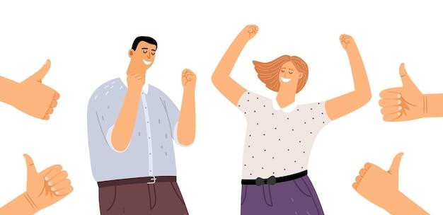 Gelukkige mensen en duim omhoog. succesvolle jonge man vrouw, vrolijke personen vectorillustratie