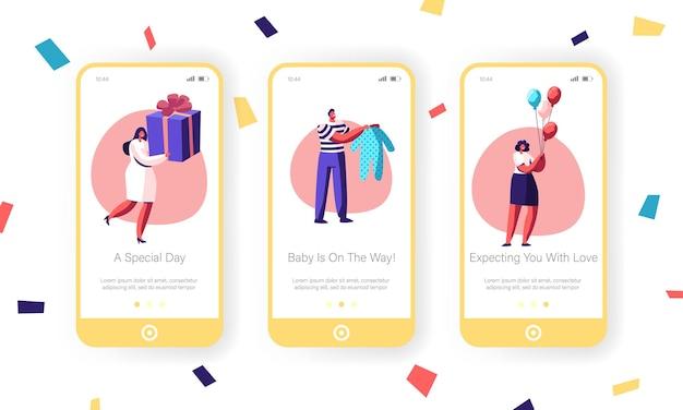Gelukkige mensen groeten vriend met mobiele app-pagina voor babyverjaardag onboard-schermset.