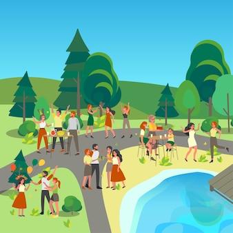 Gelukkige mensen hebben een groot feest met ballonnen buiten in het park. vrouw en man hebben plezier en dansen samen. feestelijk of evenement.
