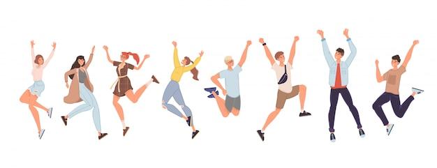 Gelukkige mensen hoog springen geven hoge set vijf