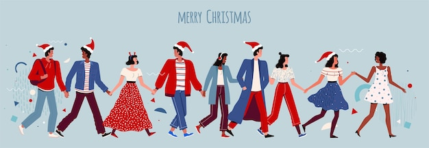 Gelukkige mensen houden elkaars hand vast en vieren kerstmis en nieuwjaar. blije mannen en vrouwen in santahoeden op een collectief feest. cartoon plat.