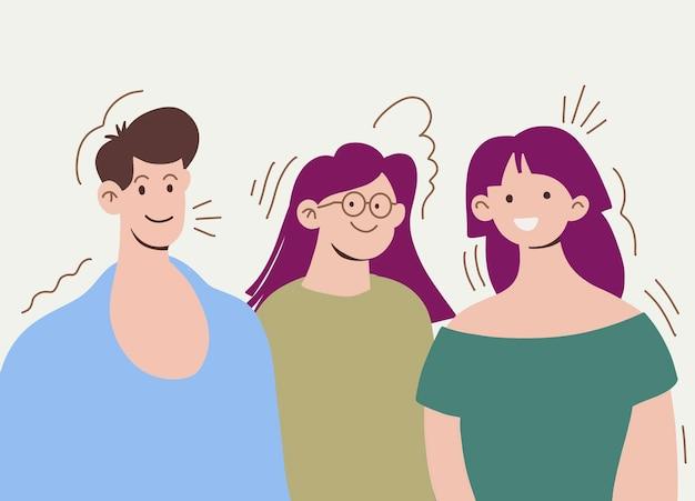 Gelukkige mensen illustratie. grafische kunst in moderne stijl