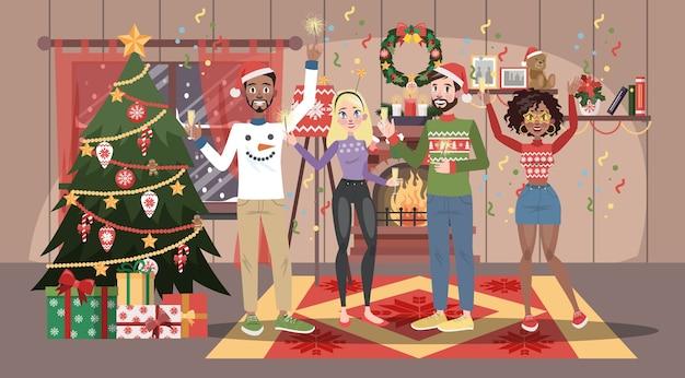 Gelukkige mensen in rode hoed hebben plezier op het kerstfeest. thuisfeest in goed gezelschap. nieuwjaarsviering. woonkamer interieur. illustratie