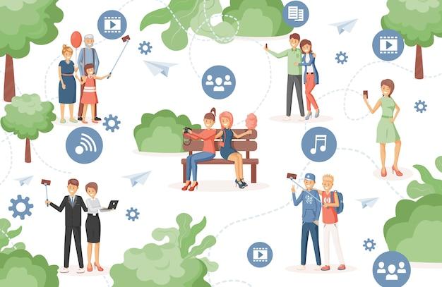 Gelukkige mensen in stadspark met behulp van draadloze internettechnologie om naar muziek te luisteren, video's te bekijken, bestanden met elkaar te delen vlakke afbeelding. slimme stad, hogesnelheidsverbindingsconcept.