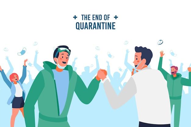 Gelukkige mensen juichen einde van de quarantaine