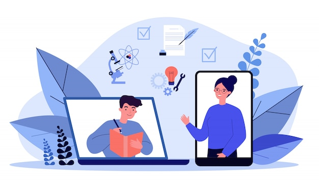 Gelukkige mensen leren online via smartphone of laptop